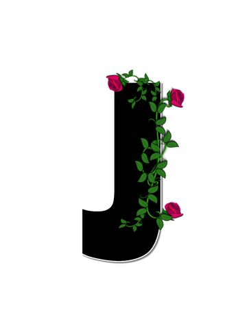 spread around: The letter J, in the alphabet set Rose Trellis, is black with white outline.  Roses and vines grow and spread around letter.