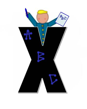 The letter X, in alphabet set Children ABCs is black.  Letters are decorated with colorful ABCs.  Child holds crayon and homework paper with the letters ABC on it. Stock Photo
