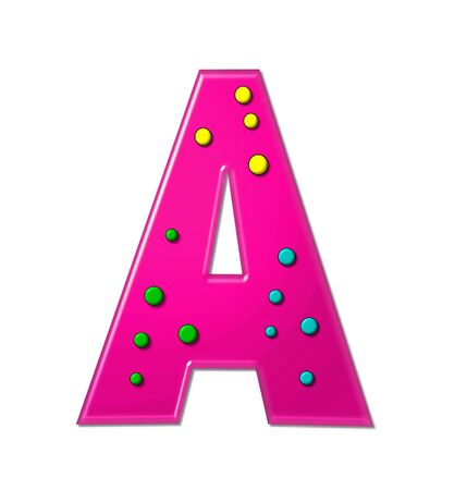 The letter A, in the alphabet set Polka Dot Party, is hot pink.   3D multi-colored dots decorate letter.