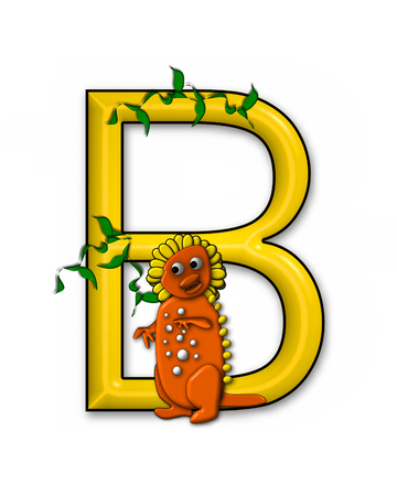 jungle vines: The letter B, in the alphabet set Dino Roaring, is decorated with jungle vines and a 3D dinosaur.