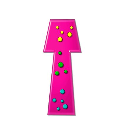 hot pink: The letter T, in the alphabet set Polka Dot Party, is hot pink.   3D multi-colored dots decorate letter.
