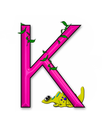 jungle vines: The letter K, in the alphabet set Dino Roaring, is decorated with jungle vines and a 3D dinosaur.