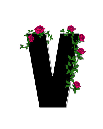spread around: The letter V, in the alphabet set Rose Trellis, is black with white outline.  Roses and vines grow and spread around letter.