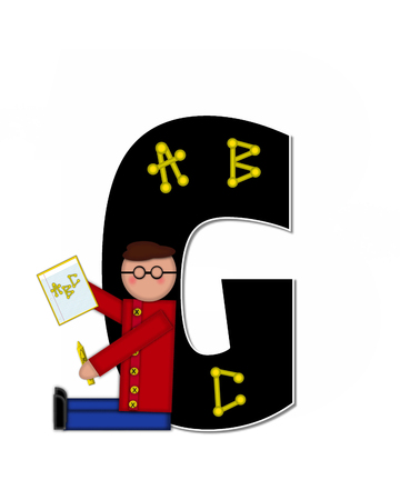 The letter G, in alphabet set Children ABCs is black.  Letters are decorated with colorful ABCs.  Child holds crayon and homework paper with the letters ABC on it.