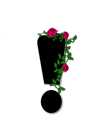 """exclamation point: Point d'exclamation, dans l'ensemble de l'alphabet """"Rose Trellis,"""" est noir avec contour blanc. Roses et vignes se développent et se propagent autour de la lettre."""