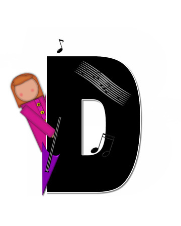scores: The letter D, in the alphabet set Children Music is black and outlined with white.  Child is surrounded by musical notes.  Alphabet set includes guitars and musical scores.