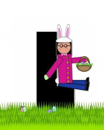 tall grass: The letter L, in the alphabet set Children Easter Eggs is black and trimmed with white.  Child with basket hunts for Easter eggs in the tall grass.