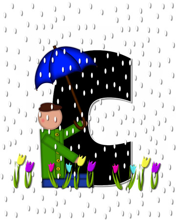april showers: The letter C, in the alphabet set Children April Showers is black and trimmed with white.  Child holds unbrella while rain drops fall on her and Spring tulips.