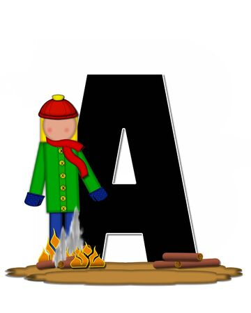 The letter A, in the alphabet set Children Camp Fire is black and outlined with white.  Children, are dressed in cap, scarf and mittens and at their feet is a camp fire.