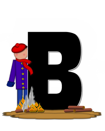 The letter B, in the alphabet set Children Camp Fire is black and outlined with white.  Children, are dressed in cap, scarf and mittens and at their feet is a camp fire.