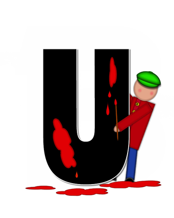 The letter U, in the alphabet set Children Creative, is black and outlined with white.  Child holds artist palette and paintbrush as she splashes paint on letter and floor. 版權商用圖片