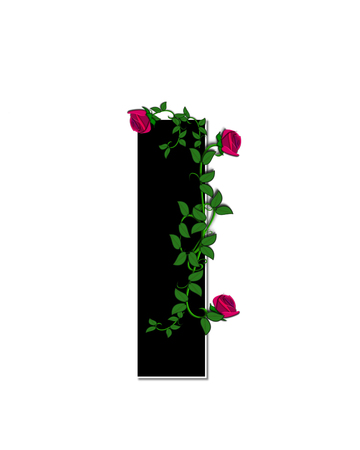 spread around: The letter I, in the alphabet set Rose Trellis, is black with white outline.  Roses and vines grow and spread around letter.
