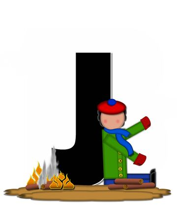 The letter J, in the alphabet set Children Camp Fire is black and outlined with white.  Children, are dressed in cap, scarf and mittens and at their feet is a camp fire.