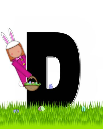 tall grass: The letter D, in the alphabet set Children Easter Eggs is black and trimmed with white.  Child with basket hunts for Easter eggs in the tall grass. Stock Photo
