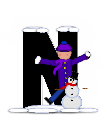 snow cap: The letter N, in the alphabet set Children Building Snowman is black and outlined with white.  Child holds wearing cap, scarf and mittens, holds snow ready to pack onto his snowman.