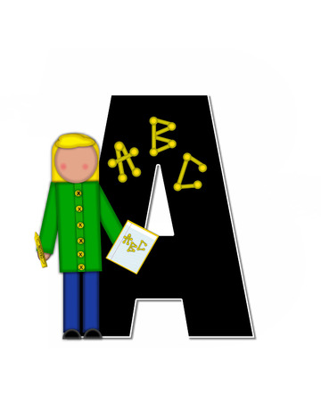 gradeschool: The letter A, in alphabet set Children ABCs is black.  Letters are decorated with colorful ABCs.  Child holds crayon and homework paper with the letters ABC on it. Stock Photo