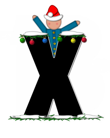 boughs: The letter X, in the alphabet set Children Christmas Ornaments, is decorated snow and pine boughs.  Child has Santa Claus hat nad decorates leter. Stock Photo