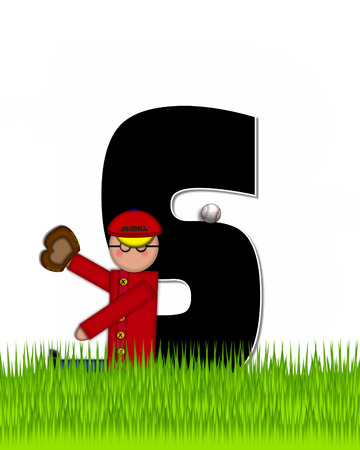 The letter S, in the alphabet set Children Baseball is black and trimmed with white.  Child is playing baseball in a field of green grass.  Equipment includes bat, ball and glove. Stock Photo