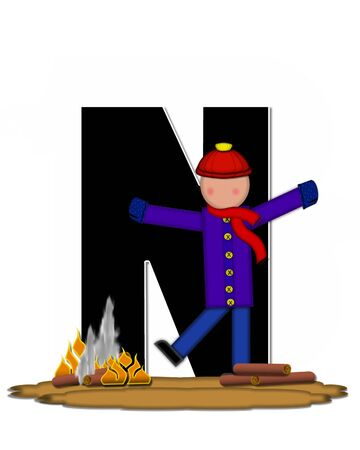 The letter N, in the alphabet set Children Camp Fire is black and outlined with white.  Children, are dressed in cap, scarf and mittens and at their feet is a camp fire.
