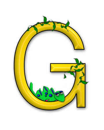jungle vines: The letter G, in the alphabet set Dino Roaring, is decorated with jungle vines and a 3D dinosaur.
