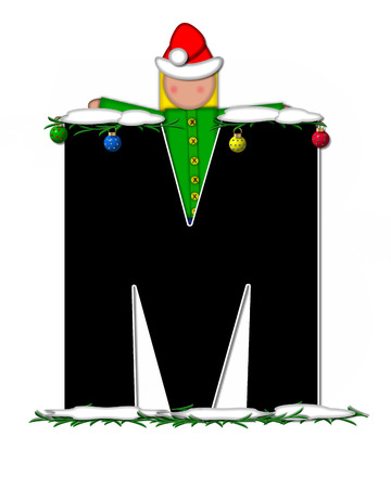 child holding sign: The letter M, in the alphabet set Children Christmas Ornaments, is decorated snow and pine boughs.  Child has Santa Claus hat nad decorates leter. Stock Photo
