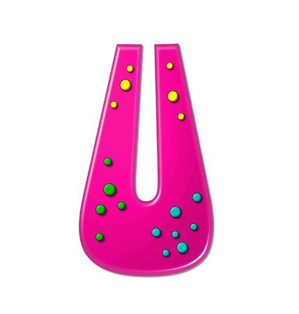 hot pink: The letter U, in the alphabet set Polka Dot Party, is hot pink.   3D multi-colored dots decorate letter.
