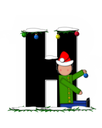 pine boughs: The letter H, in the alphabet set Children Christmas Ornaments, is decorated snow and pine boughs.  Child has Santa Claus hat nad decorates leter.