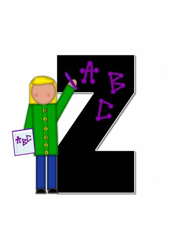 The letter Z, in alphabet set Children ABCs is black.  Letters are decorated with colorful ABCs.  Child holds crayon and homework paper with the letters ABC on it.