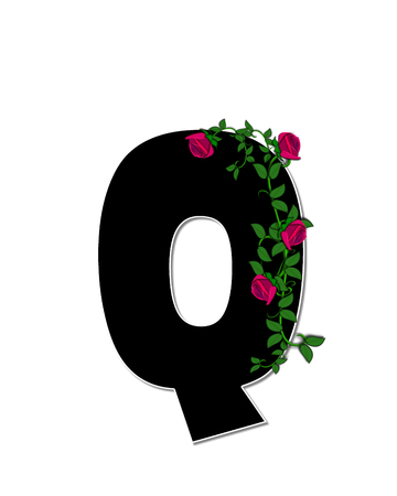 spread around: The letter Q, in the alphabet set Rose Trellis, is black with white outline.  Roses and vines grow and spread around letter.