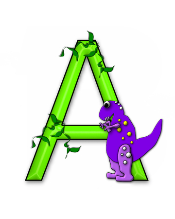 jungle vines: The letter A, in the alphabet set Dino Roaring, is decorated with jungle vines and a 3D dinosaur.