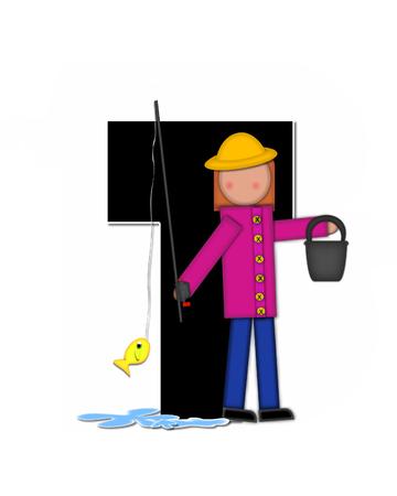 """seau d eau: La lettre T, dans l'ensemble de l'alphabet """"Pêche Enfants Gone,"""" est noir décrit avec le blanc. Les enfants, canne et moulinet, seau, eau et lettre de décorer des poissons."""