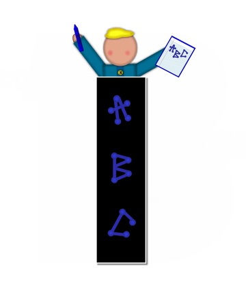 The letter I, in alphabet set Children ABCs is black.  Letters are decorated with colorful ABCs.  Child holds crayon and homework paper with the letters ABC on it.