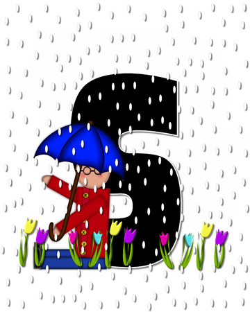 rain drops: The letter S, in the alphabet set Children April Showers is black and trimmed with white.  Child holds unbrella while rain drops fall on her and Spring tulips.