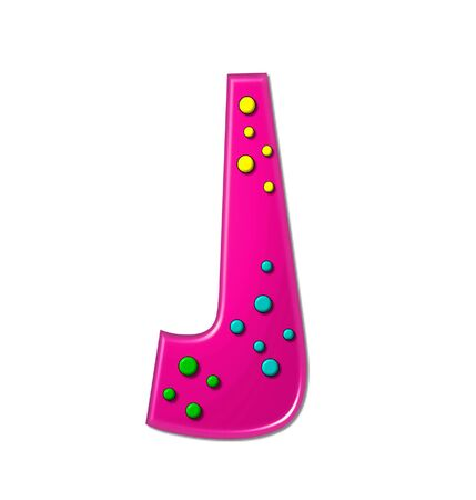 The letter J, in the alphabet set Polka Dot Party, is hot pink.   3D multi-colored dots decorate letter.