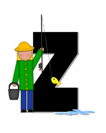 seau d eau: The letter Z, in the alphabet set Children Gone Fishing, is black outlined with white.  Children, rod and reel, bucket, water and fish decorate letter.