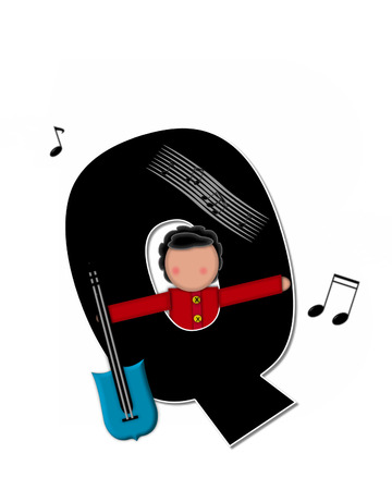 The letter Q, in the alphabet set Children Music is black and outlined with white.  Child is surrounded by musical notes.  Alphabet set includes guitars and musical scores.
