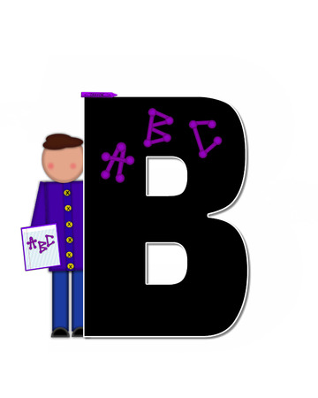 The letter B, in alphabet set Children ABCs is black.  Letters are decorated with colorful ABCs.  Child holds crayon and homework paper with the letters ABC on it.