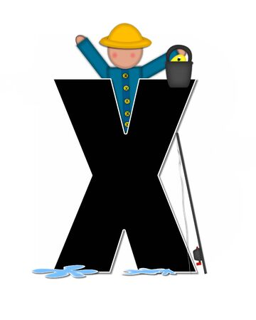 The letter X, in the alphabet set Children Gone Fishing, is black outlined with white.  Children, rod and reel, bucket, water and fish decorate letter.