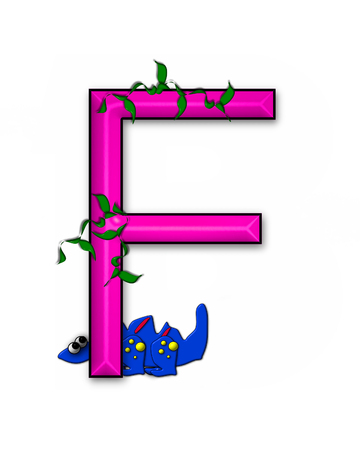 jungle vines: The letter F, in the alphabet set Dino Roaring, is decorated with jungle vines and a 3D dinosaur.