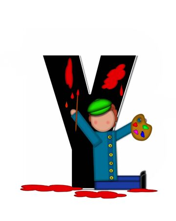 The letter Y, in the alphabet set Children Creative, is black and outlined with white.  Child holds artist palette and paintbrush as she splashes paint on letter and floor.