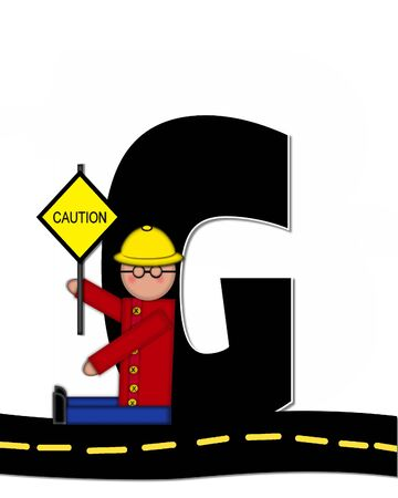 highway signs: The letter G, in the alphabet set Children Highway Construction, is black and outlined with white.  Child stands or sits on highway holding highway construction signs.