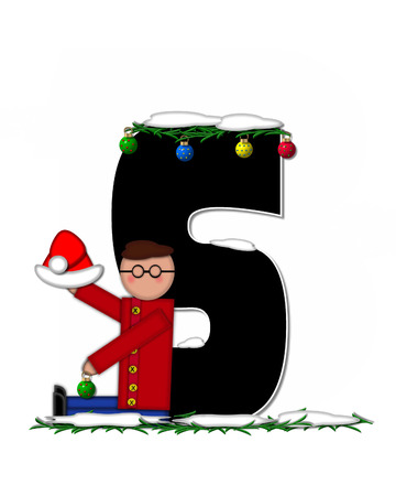 boughs: The letter S, in the alphabet set Children Christmas Ornaments, is decorated snow and pine boughs.  Child has Santa Claus hat nad decorates leter.