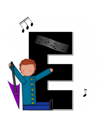 e white: The letter E, in the alphabet set Children Music is black and outlined with white.  Child is surrounded by musical notes.  Alphabet set includes guitars and musical scores. Stock Photo