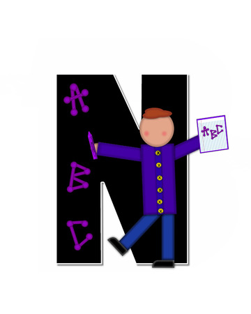 The letter N, in alphabet set Children ABCs is black.  Letters are decorated with colorful ABCs.  Child holds crayon and homework paper with the letters ABC on it.