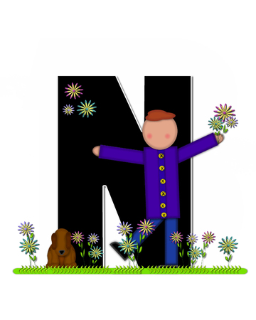 picking: The letter N, in the alphabet set Children Picking Flowers, is black outlined with white.  Children, pet dog, and flowers decorate letter.