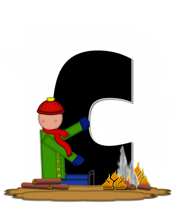 camp fire: The letter C, in the alphabet set Children Camp Fire is black and outlined with white.  Children, are dressed in cap, scarf and mittens and at their feet is a camp fire.