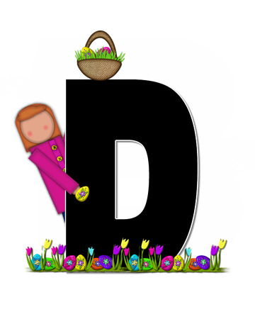 easter egg hunt: The letter D, in the alphabet set Children Easter Egg Hunt is black and trimmed with white.  Child holds basket filled with Easter eggs found in the grass amid the tulips.