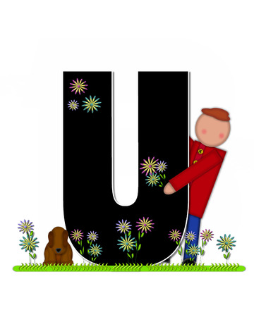 picking: The letter U, in the alphabet set Children Picking Flowers, is black outlined with white.  Children, pet dog, and flowers decorate letter.