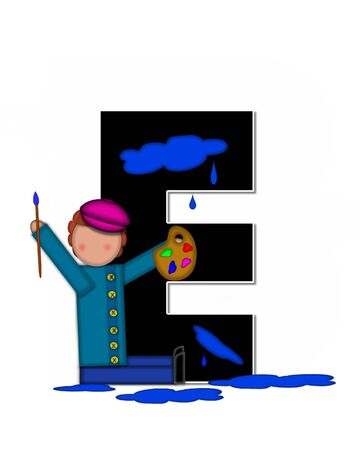 The letter E, in the alphabet set Children Creative, is black and outlined with white.  Child holds artist palette and paintbrush as she splashes paint on letter and floor.