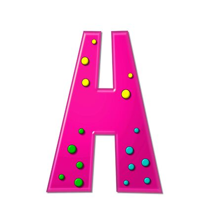hot pink: The letter H, in the alphabet set Polka Dot Party, is hot pink.   3D multi-colored dots decorate letter. Stock Photo